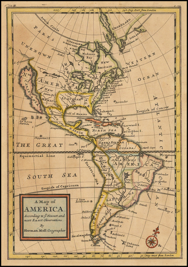 60-South America and America Map By Herman Moll