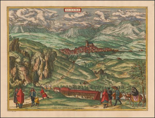 8-Spain Map By Georg Braun  &  Frans Hogenberg
