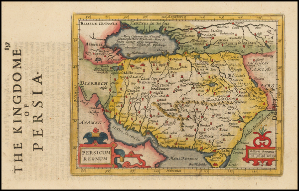 24-Central Asia & Caucasus, Middle East and Persia Map By Jodocus Hondius