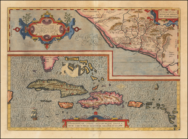64-Southeast, Mexico, Caribbean and Cuba Map By Abraham Ortelius