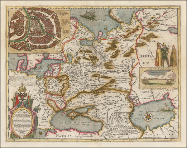 57-Poland, Russia, Ukraine, Baltic Countries and Russia in Asia Map By Willem Janszoon Blaeu