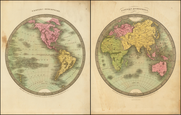 87-World, World, Eastern Hemisphere and Western Hemisphere Map By David Hugh Burr