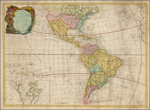 45-South America, Oceania, Other Pacific Islands and America Map By Jean-Baptiste Nolin