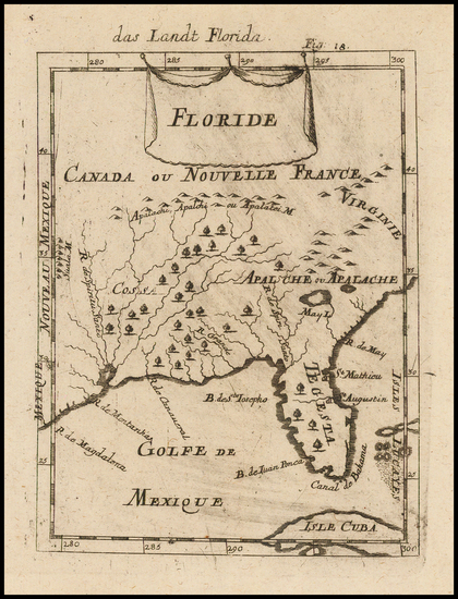 80-Florida and Southeast Map By Alain Manesson Mallet
