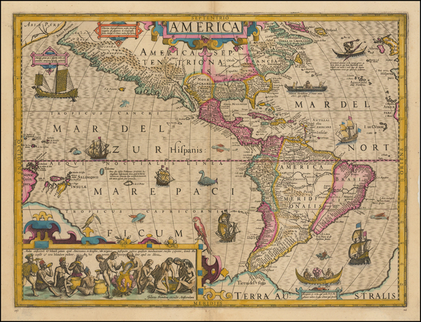 75-Western Hemisphere, South America and America Map By Jodocus Hondius