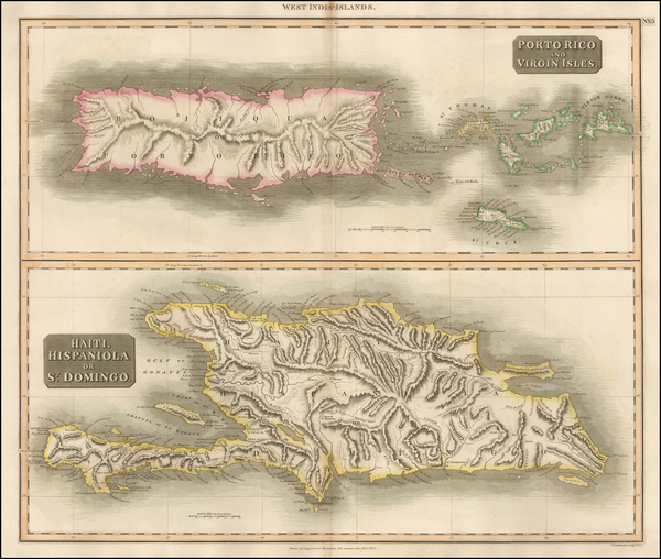 56-Caribbean, Hispaniola, Puerto Rico and Virgin Islands Map By John Thomson