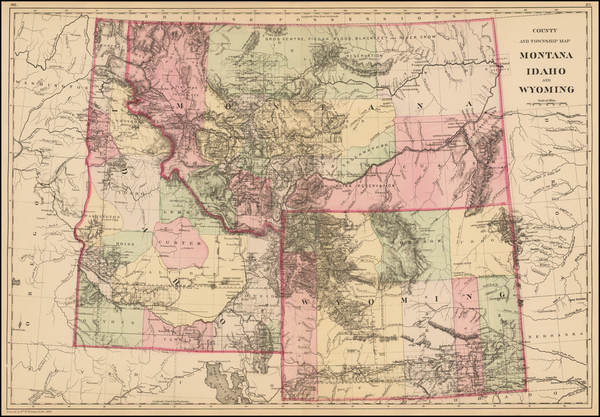 24-Plains, Rocky Mountains, Idaho, Montana and Wyoming Map By Samuel Augustus Mitchell Jr.