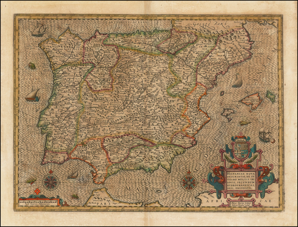Spain and Portugal Map By Henricus Hondius / Petrus Kaerius