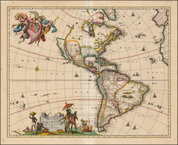 52-Western Hemisphere, South America and America Map By Nicolaes Visscher I