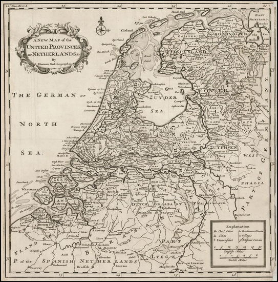 78-Netherlands Map By Herman Moll