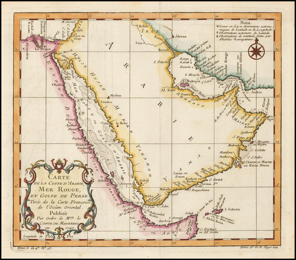 35-Middle East and Arabian Peninsula Map By Jacques Nicolas Bellin