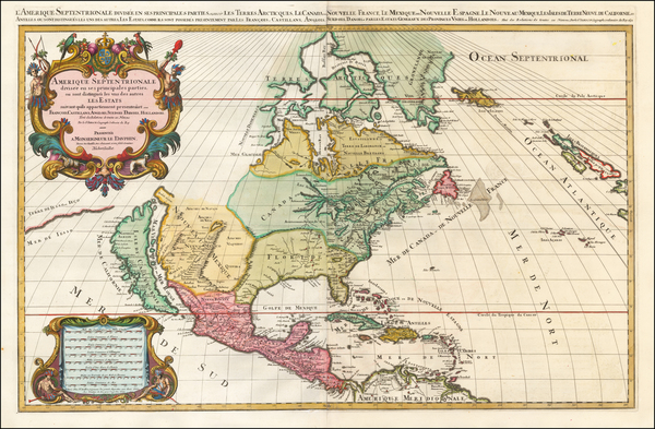 55-North America and California Map By Alexis-Hubert Jaillot