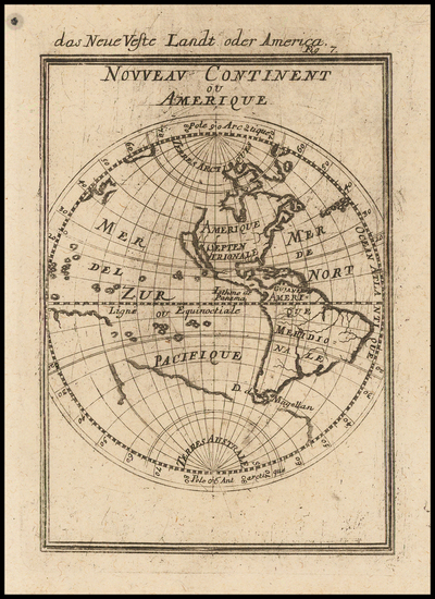 Western Hemisphere, South America and America Map By Alain Manesson Mallet