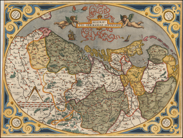 73-Netherlands and Luxembourg Map By Abraham Ortelius