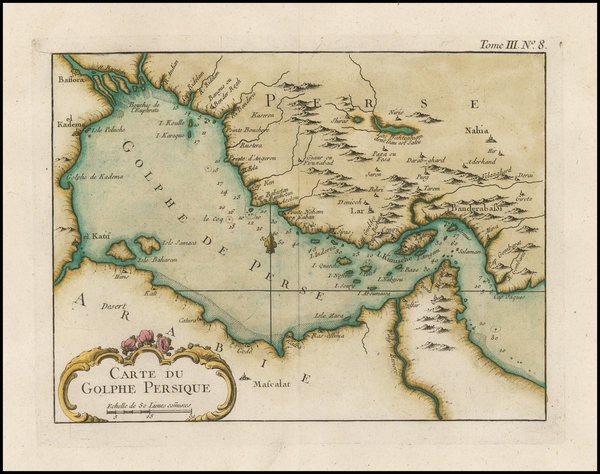19-Middle East, Arabian Peninsula and Persia Map By Jacques Nicolas Bellin