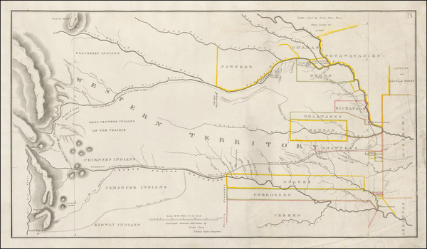 43-Plains, Kansas and Rocky Mountains Map By Col. Henry P. Dodge / Lt. Enoch Steen