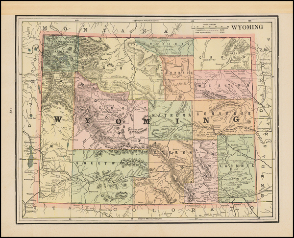 46-Plains, Rocky Mountains and Wyoming Map By George F. Cram