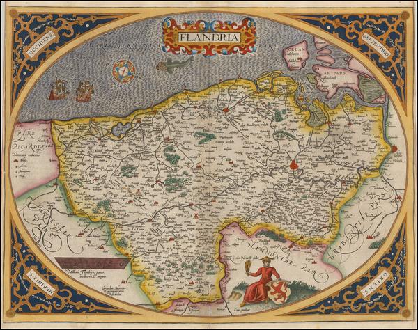 68-Belgium Map By Abraham Ortelius