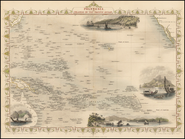 47-Pacific, Oceania, Hawaii and Other Pacific Islands Map By John Tallis