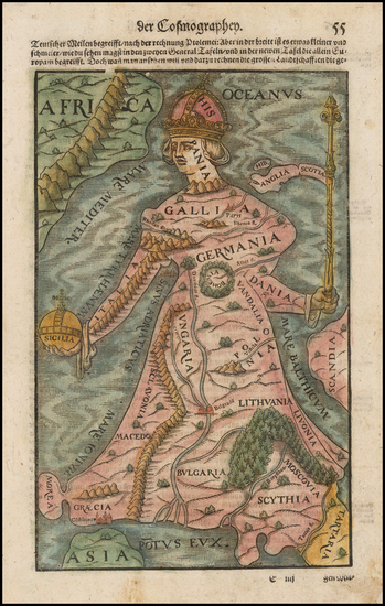 34-Europe, Europe and Comic & Anthropomorphic Map By Sebastian Munster
