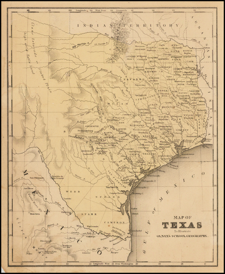 96-Texas Map By A.N. Olney