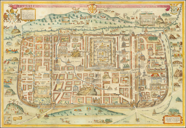 15-Holy Land and Jerusalem Map By Christian van Adrichom