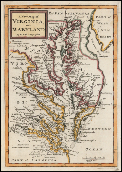57-Maryland, Delaware, Southeast and Virginia Map By Herman Moll