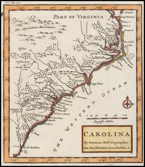 66-Southeast and South Carolina Map By Herman Moll