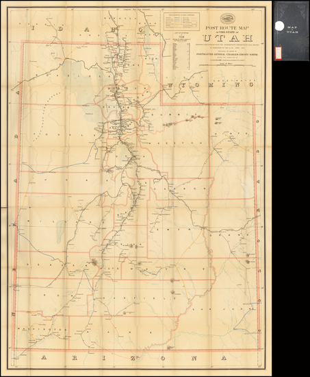 Southwest, Rocky Mountains and Utah Map By U.S. Post Office Department