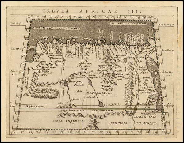 37-Egypt and North Africa Map By Giovanni Antonio Magini