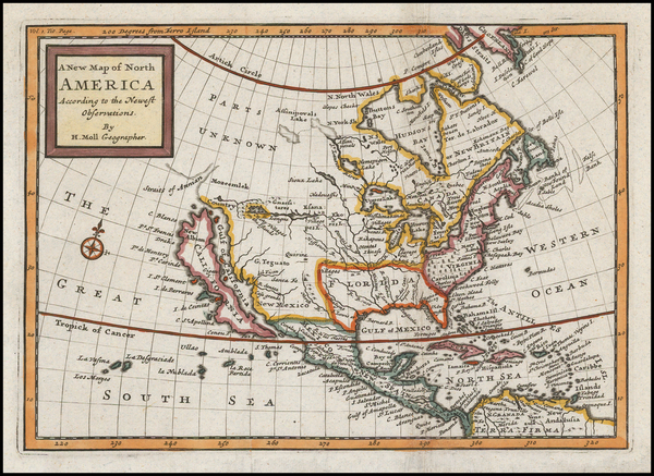 29-North America and California Map By Herman Moll