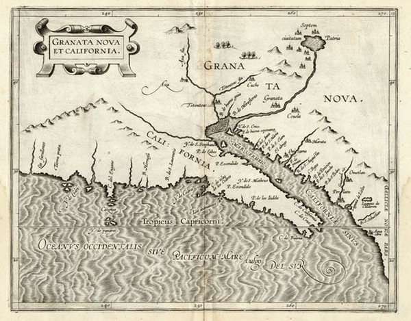 75-Southwest, Mexico, Baja California and California Map By Cornelis van Wytfliet