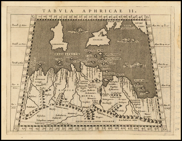 50-Mediterranean, Sicily and North Africa Map By Giovanni Antonio Magini