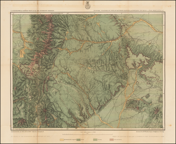 38-Southwest, New Mexico, Rocky Mountains and Colorado Map By George M. Wheeler
