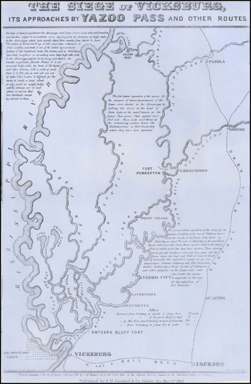 54-South, Mississippi and Civil War Map By S.H.  Goetzel