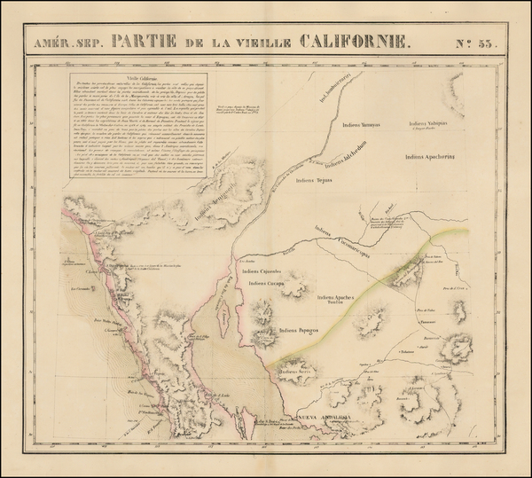 71-Arizona, Baja California and California Map By Philippe Marie Vandermaelen