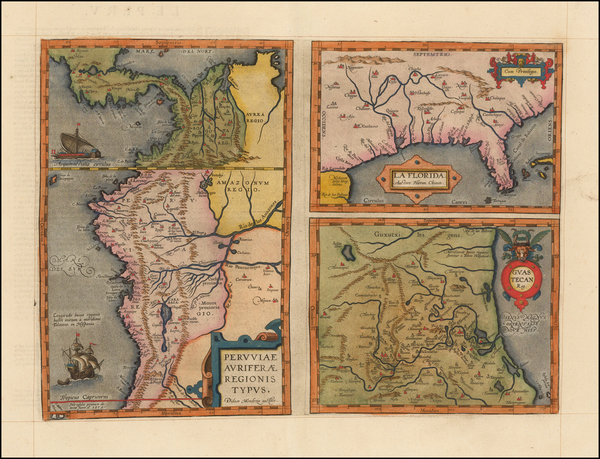 81-Florida, South, Southeast, Central America and South America Map By Abraham Ortelius