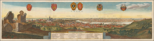 Czech Republic & Slovakia Map By Wenceslaus Hollar