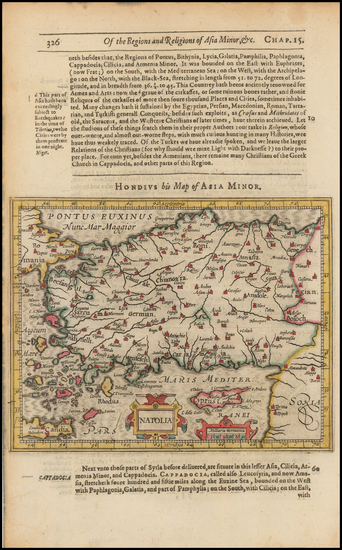 72-Greece, Turkey and Turkey & Asia Minor Map By Jodocus Hondius / Samuel Purchas