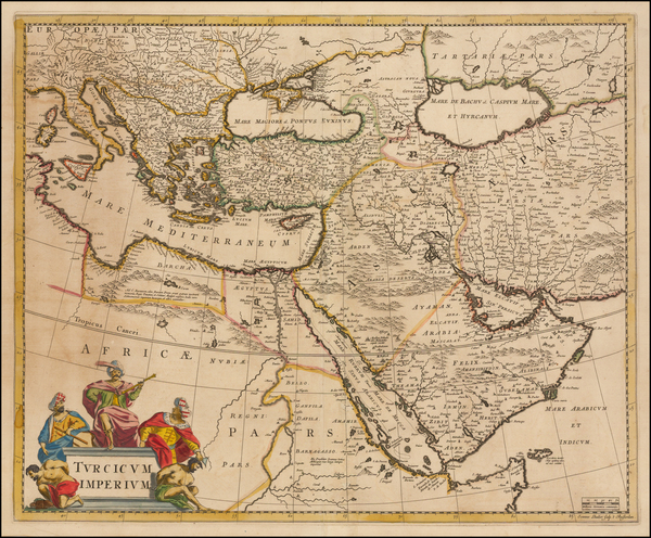 34-Greece, Turkey, Mediterranean, Middle East and Turkey & Asia Minor Map By Frederick De Wit