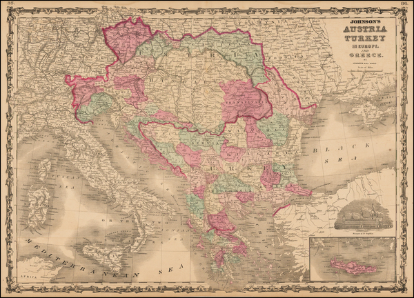 73-Hungary, Balkans, Greece and Turkey Map By Benjamin P Ward  &  Alvin Jewett Johnson
