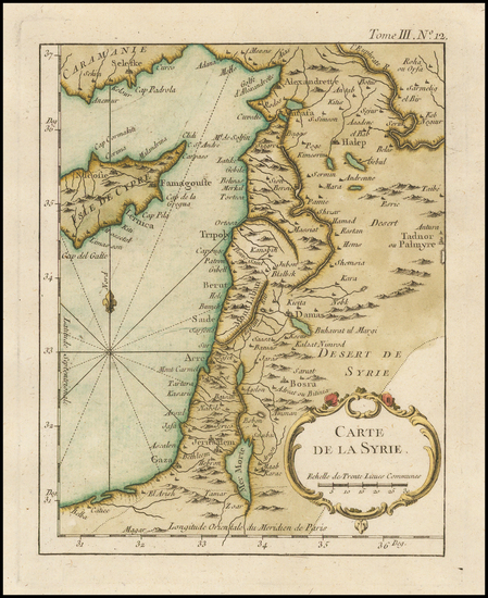 1-Mediterranean and Holy Land Map By Jacques Nicolas Bellin