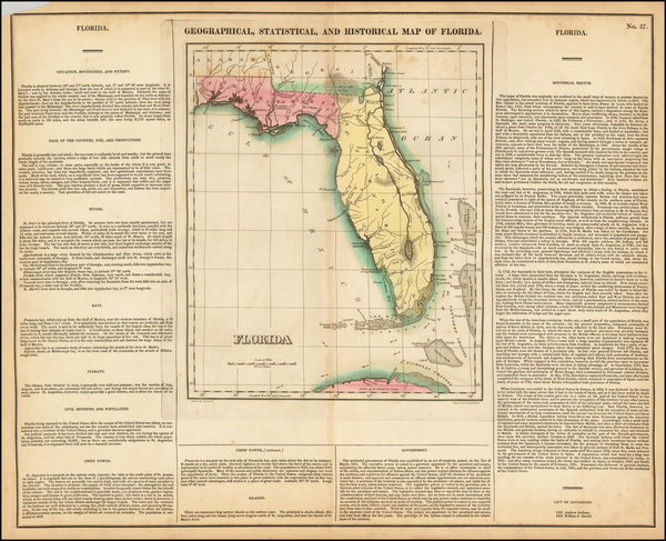 77-Florida Map By Henry Charles Carey  &  Isaac Lea