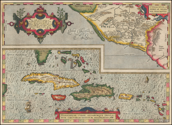 90-Southeast, Mexico and Caribbean Map By Abraham Ortelius