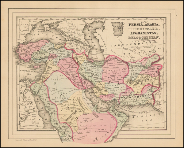 8-Central Asia & Caucasus, Persia and Turkey & Asia Minor Map By Samuel Augustus Mitchell