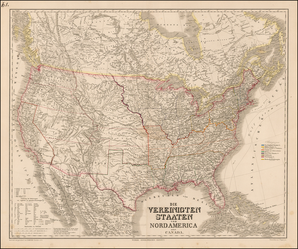 51-United States and Canada Map By Heinrich Kiepert