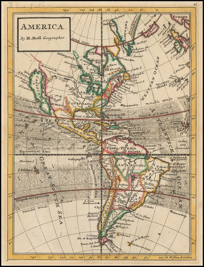 89-South America and America Map By Herman Moll