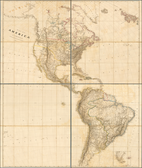 69-United States, North America, Canada, South America and America Map By Aaron Arrowsmith