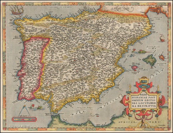 14-Spain and Portugal Map By Abraham Ortelius