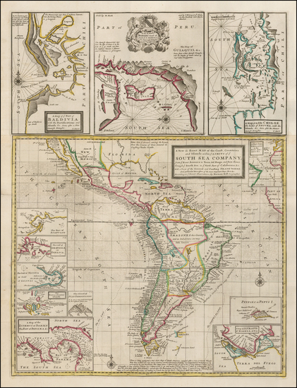 45-Central America, South America, California and America Map By Herman Moll